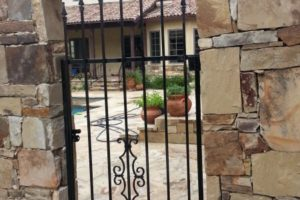 Iron gate installation project and landscaping