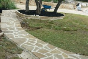 custom stone pathway project in San Antonio, TX