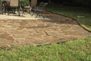 custom stone pathway and patio