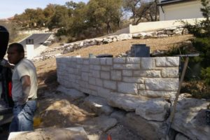 retaining walls under construction