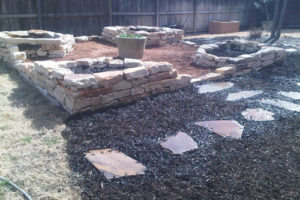 custom rock patio and fire pit project in Boerne TX