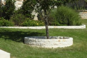 stone retaining wall and landscaping project