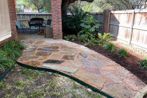 Stone patio project and landscaping