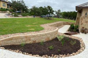Rock work and retaining wall